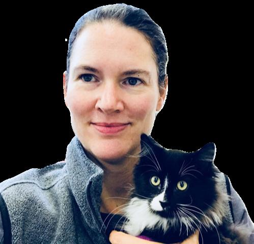 Dr Jennifer Stillion with a cat