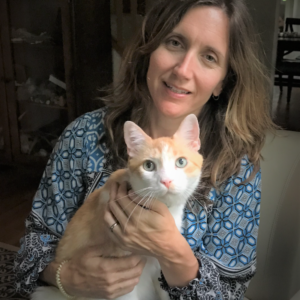 holly brown with cat