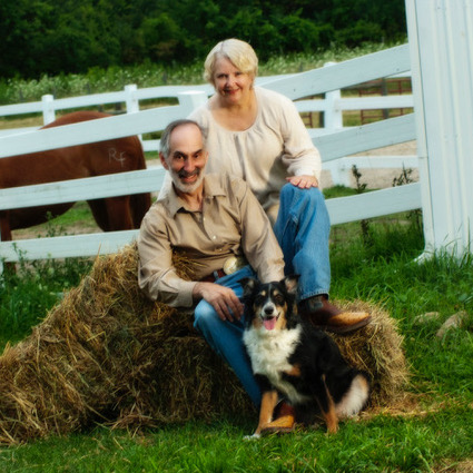 Dr. Paul Bloom with wife, dog, and horse